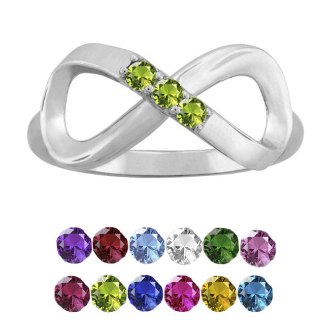 10K White Gold Round-Cut 3-Stone Infinity Mothers Ring (S...