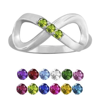 10K White Gold Round-Cut 3-Stone Infinity Mothers Ring