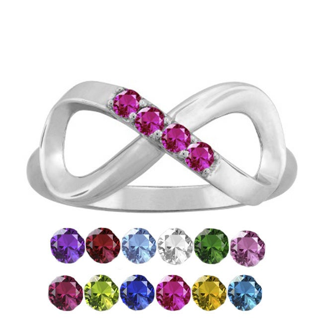 10K White Gold Round-Cut 4-Stone Infinity Mothers Ring (S...