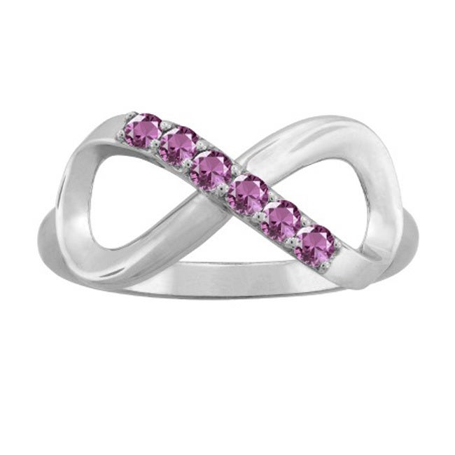 10K White Gold Round-Cut 5-Stone Infinity Mothers Ring (S...