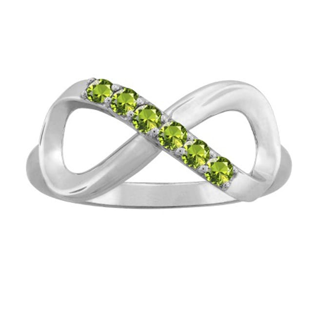 10K White Gold Round-Cut 6-Stone Infinity Mothers Ring (S...