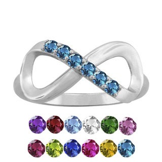 10K White Gold Round-Cut 6-Stone Infinity Mothers Ring
