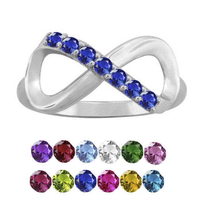 10K White Gold Round-Cut 7-Stone Infinity Mothers Ring (S...