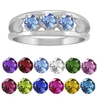 10K White Gold Round-Cut 3-Stone Mothers Ring