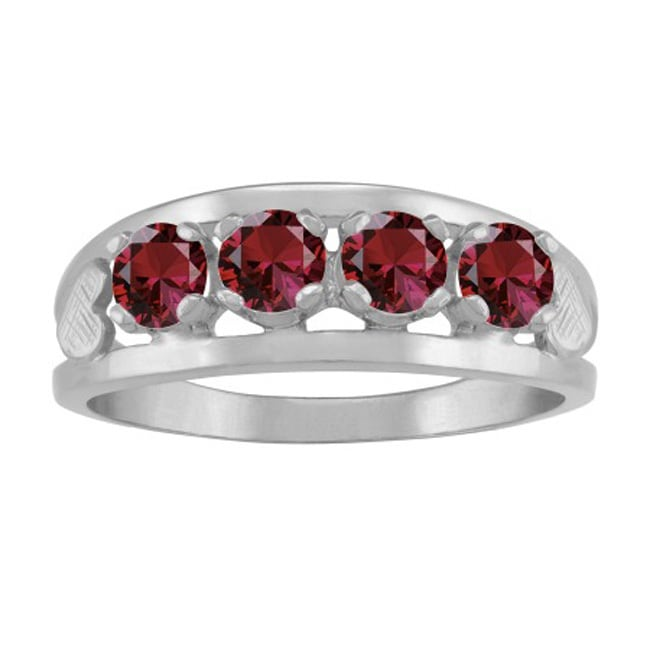 10k white gold round cut 4 stone hearts mothers ring ebay. Black Bedroom Furniture Sets. Home Design Ideas