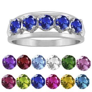 10K White Gold Round-Cut 5-Stone Mothers Ring
