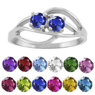 10K White Gold Round-Cut 2-Stone Mothers Ring