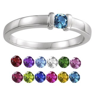 10K White Gold Round-Cut 1-Stone Mothers Ring