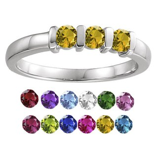 10K White Gold Round-Cut 3-Stones Mothers Ring