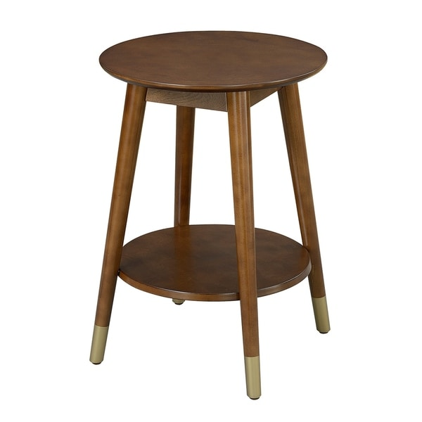 Convenience Concepts Wilson Mid Century Round End Table With Bottom Shelf    Free Shipping Today   Overstock.com   19997620