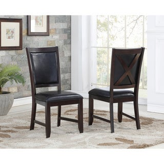 Abbyson Clarkston Espresso Finish Rubberwood and Leather Dining Chair (Set of 2)