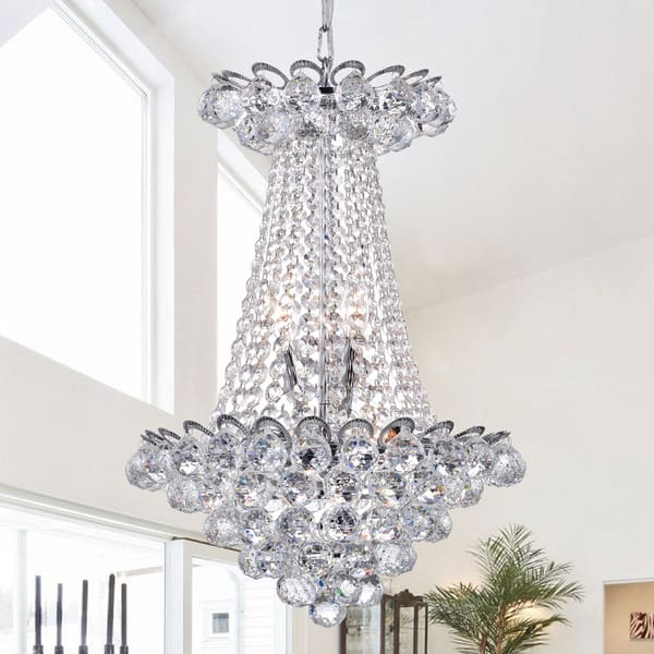 Avril Chrome Crystal Empire Chandelier On Sale Overstock 13288042