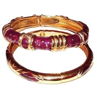 14k Gold-plated Copper Dark Purple Cloisonne 2-piece Bangle Bracelet Set