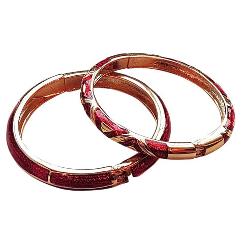 Red/Gold Cloisonne Two-bangle Set