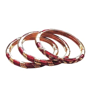 Women's Red/Gold Copper Cloisonne 3-piece Bangle Set