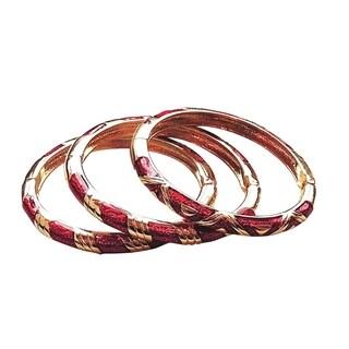 Women's Red/Gold Copper Cloisonne 3-piece Bangle Set