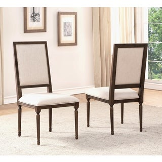 Abbyson Cypress Cream/Brown Rubberwood/Linen Dining Chair (Set of 2)