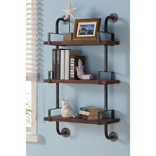 Armen Living Booker Grey Finish Industrial Pine Wood 40-inch Floating Wall Shelf