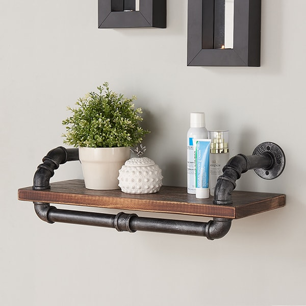 Armen Living Isadore Industrial Grey Finish/ Pine Wood/ Metal 24-inch Floating Wall Shelf
