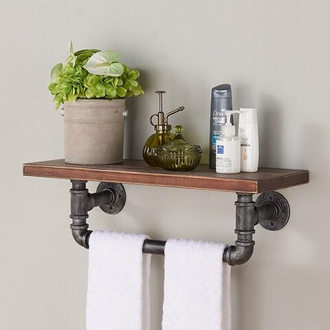 Armen Living Walnut and Grey Finish Wood Metal 24-inch Jarrett Industrial Floating Wall Shelf