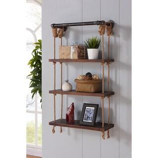 Armen Living Brannon Grey-finished Modern Pine Wood 24-inch Floating Wall Shelf