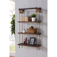 Armen Living Brannon Grey-finished Modern Pine Wood 24-inch Floating Wall Shelf