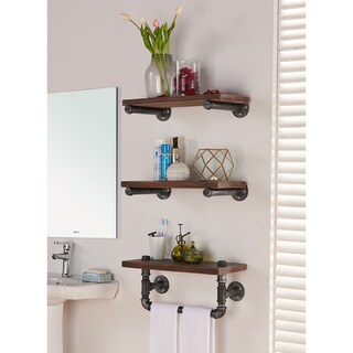 Armen Living Conrad Industrial Grey/ Walnut-finish Wood 20-inch Floating Wall Shelf