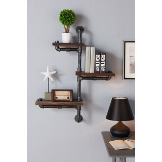 Armen Living Walnut Wood Metal 30-inch Orton Industrial Floating Wall Shelf