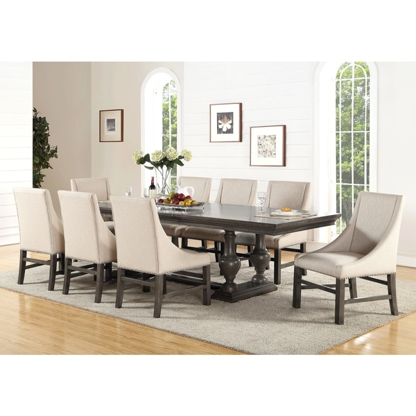 Abbyson Marseilles City Grey 9 Piece Dining Set