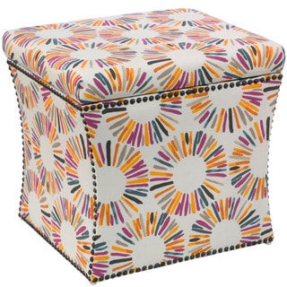 Skyline Furniture Storage Ottoman in Medallion Multi