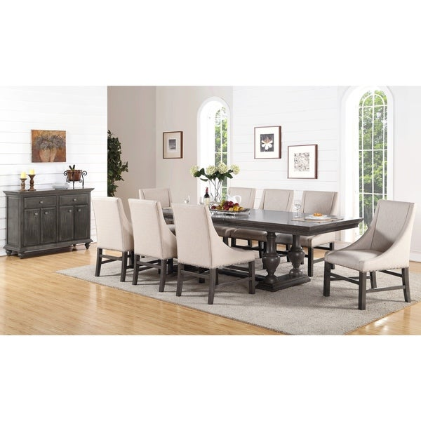 Abbyson Marseilles City Grey 10 Piece Dining Set