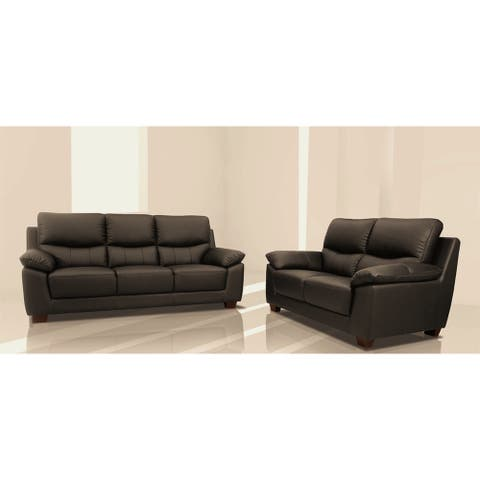 Renzo Italian Leather Match Sofa and Loveseat Set