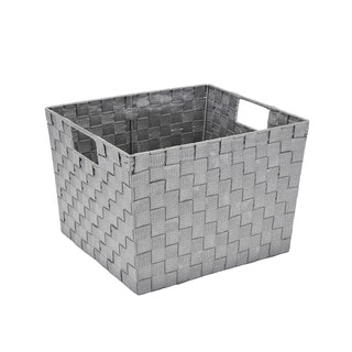 Simplify Large Lure Striped Woven Storage Bin in Grey/ Silver