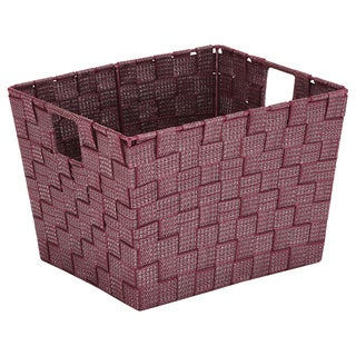 Simplify Medium Lure Striped Woven Storage Bin in Burgundy