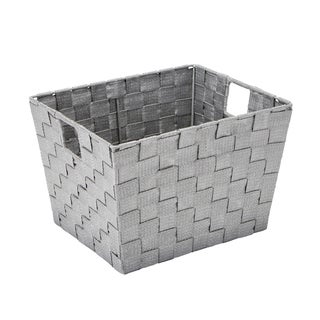 Simplify Medium Lure Striped Woven Storage Bin in Grey/ Silver
