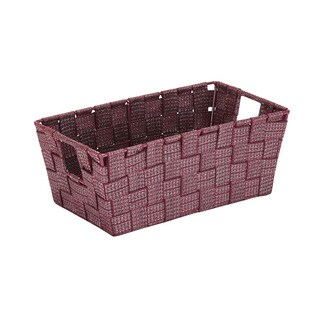 Simplify Small Lure Striped Woven Storage Bin in Burgundy