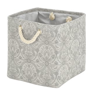 Laura Ashley Canvas Collapsible Storage Cube in Almeida Silver