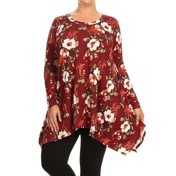 1958176ae0f MOA Collection Multicolored Rayon Spandex Plus-size Women  x27 s Floral Top
