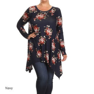 MOA Collection Multicolored Rayon/Spandex Plus-size Women's Floral Top