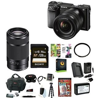 Sony Alpha a6000 24.3 MP Mirrorless Interchangeable Lens Digital Camera + 16-50mm Lens (Black) + E 55-210mm F4.5-6.3 Lens Kit