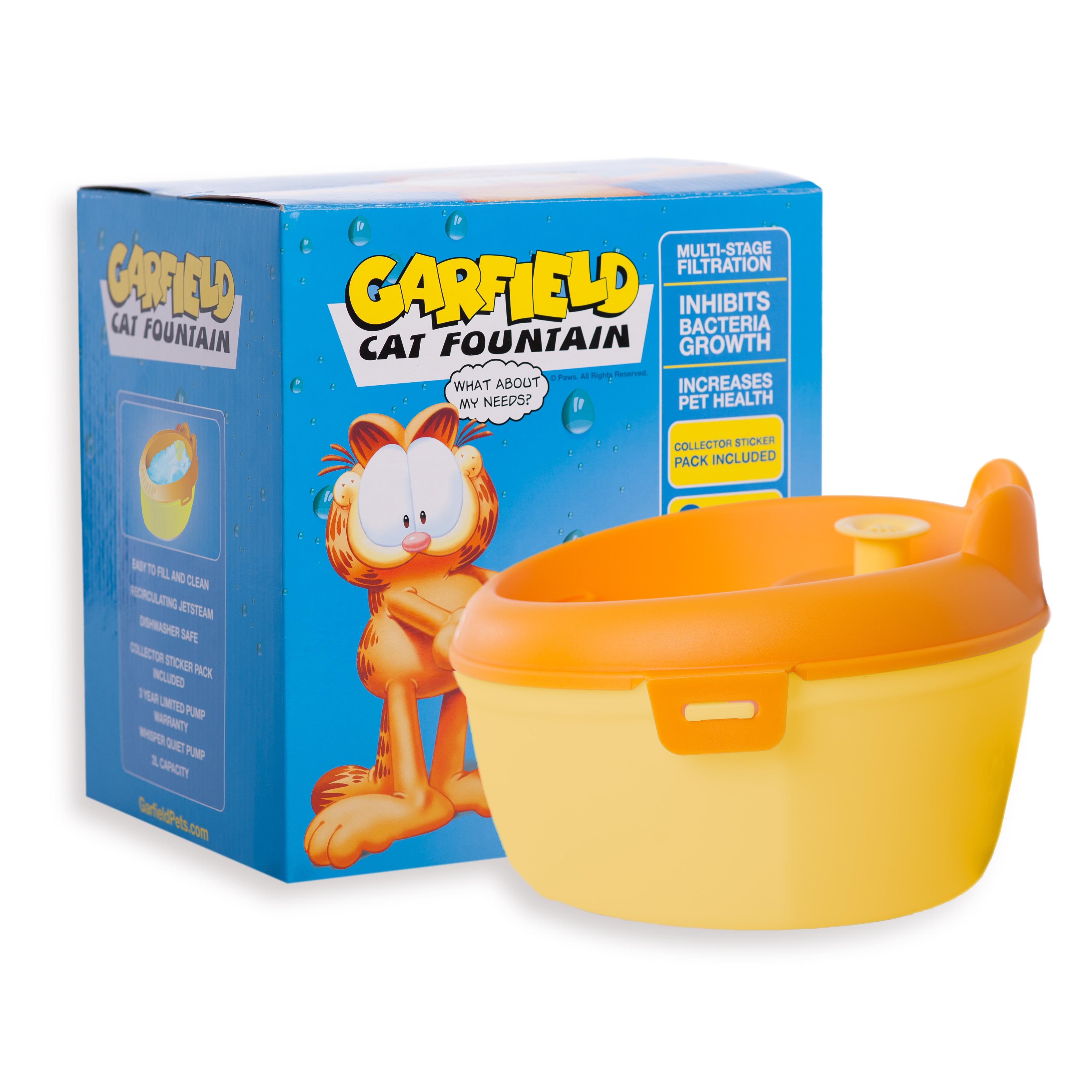 Garfield Orange and Yellow Plastic Purified Cat Water Fou...