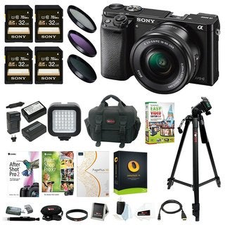 Sony Alpha a6000 Mirrorless Camera w/ 16-50mm Lens & Four 32GB SD Card Bundle