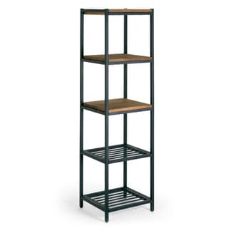 Ailis Brown Pine Wood/Metal 57-inch Etagere/Bookcase/Shelf/Media Center