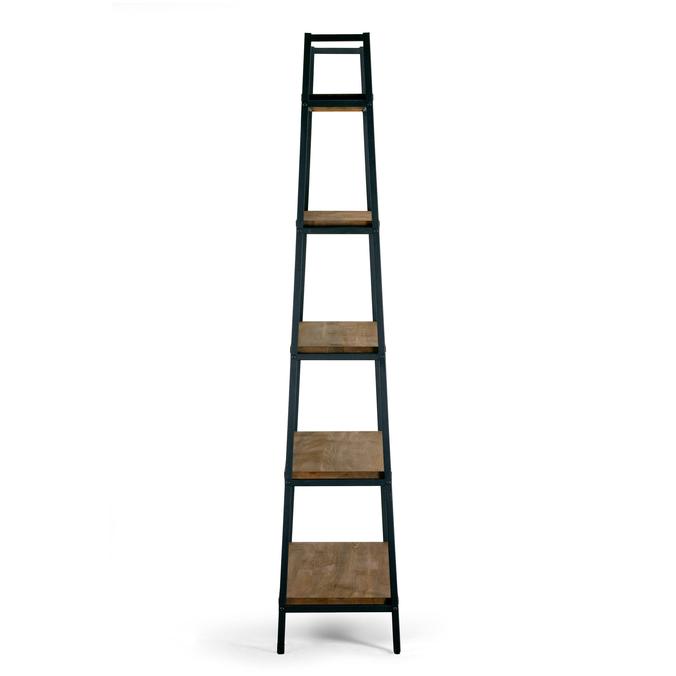 interesting affordable ailis brown pine wood metal frame inch shelf etagere bookcase and media. Black Bedroom Furniture Sets. Home Design Ideas