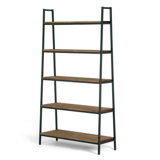 Ailis Brown Pine Wood Metal Frame 71.5-inch 5-shelf Etagere Bookcase and Media Tower