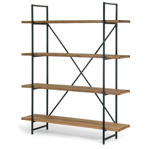 ailis brown wood and metal 75 inch 4 shelf etagere bookcase - Overstock Bookshelves