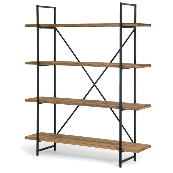 72a041cdd4d2 Shop Ailis Brown Wood and Metal 75-inch 4-shelf Etagere Bookcase ...