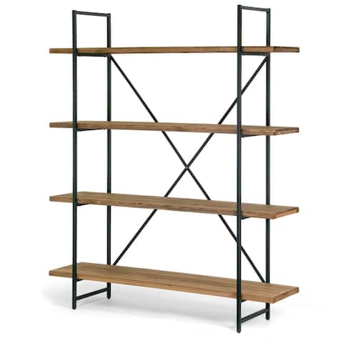 Ailis Brown Wood and Metal 75-inch 4-shelf Etagere Bookcase