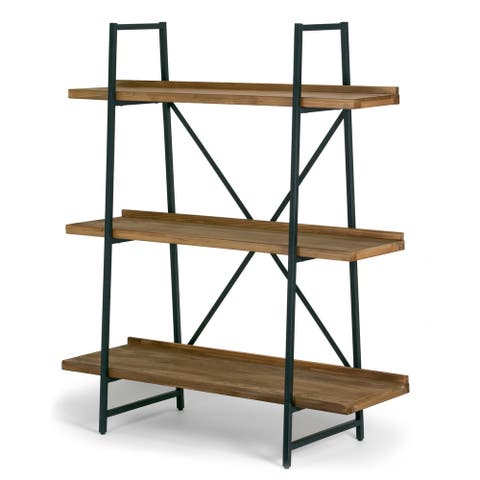 Ailis Brown Pine Wood Metal Frame 56-inch Etagere Bookcase Three-shelf Media Center