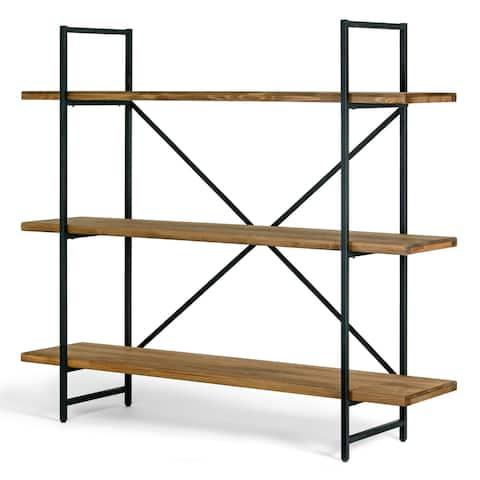 Ailis Brown Pine Wood Metal Frame 56-inch Etagere Three-shelf Bookcase Media Center